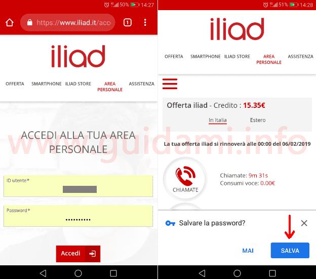 Iliad schermata sito accesso area personale e richiesta salvataggio password Chrome