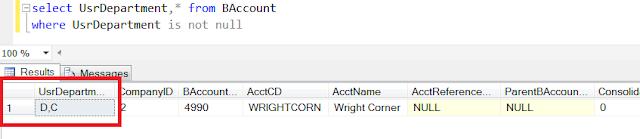 Acumatica Custom Field Database Column