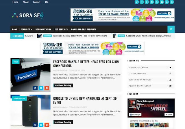 Sora Seo Free Blogger Template. This template is suitable for all blogs like the news blog, magazine blogs, photo gallery blog, video gallery blog, movies blog, personal blog etc.