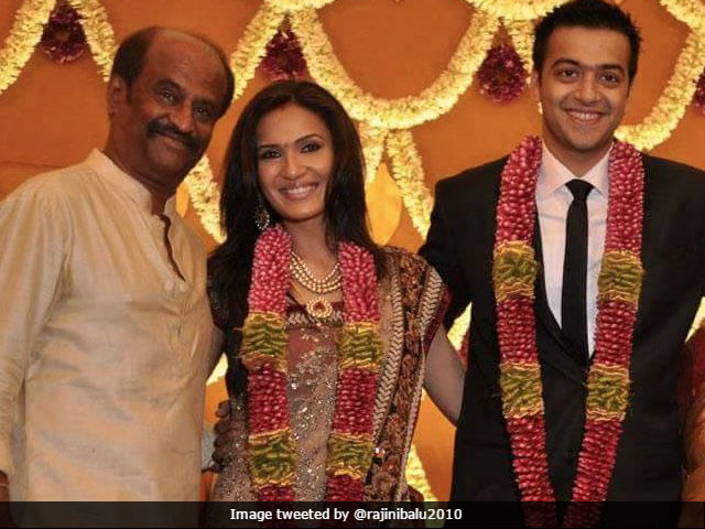 Saundarya with father rajnikanth and hubby aswin