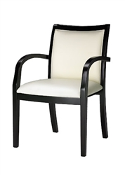 Dark Wood Side Chair with Cream Leather Upholstery