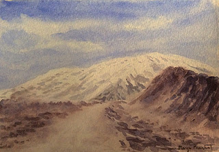 water colour painting of a mountainscape from Himachal by Manju Panchal