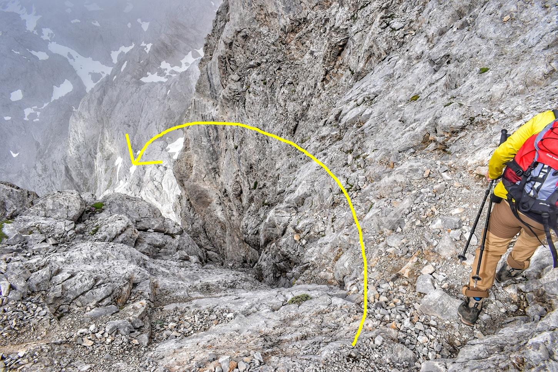paso delicado hacia la cumbre