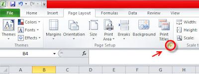 page setup ms excel