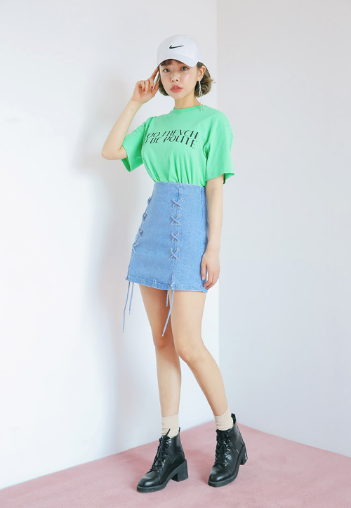 Lace-Up Accent Denim Skirt