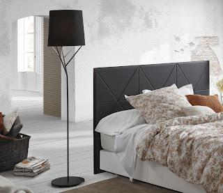 modern black floor lamp plus feminine floral bedspread or pillow feats black headboard ideas