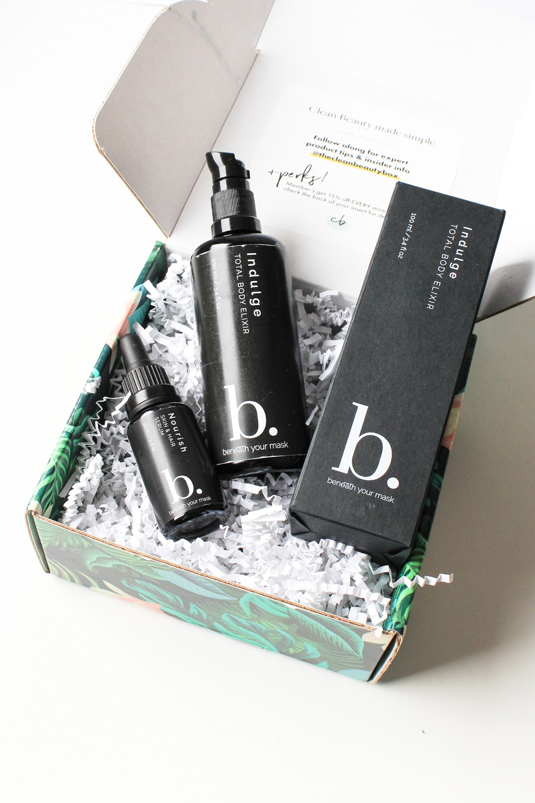 March Clean Beauty Box Indulge Beneath Your Mask Indulge Total Body Elixir, Nourish Skin + Hair Serum