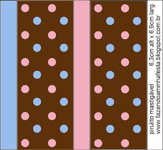 Etiquetas de Lunares Celeste y Rosa en Fondo Chocolate para imprimir gratis.