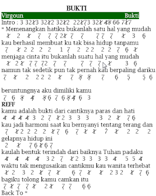 Not Angka Pianika Lagu Bukti - Virgoun