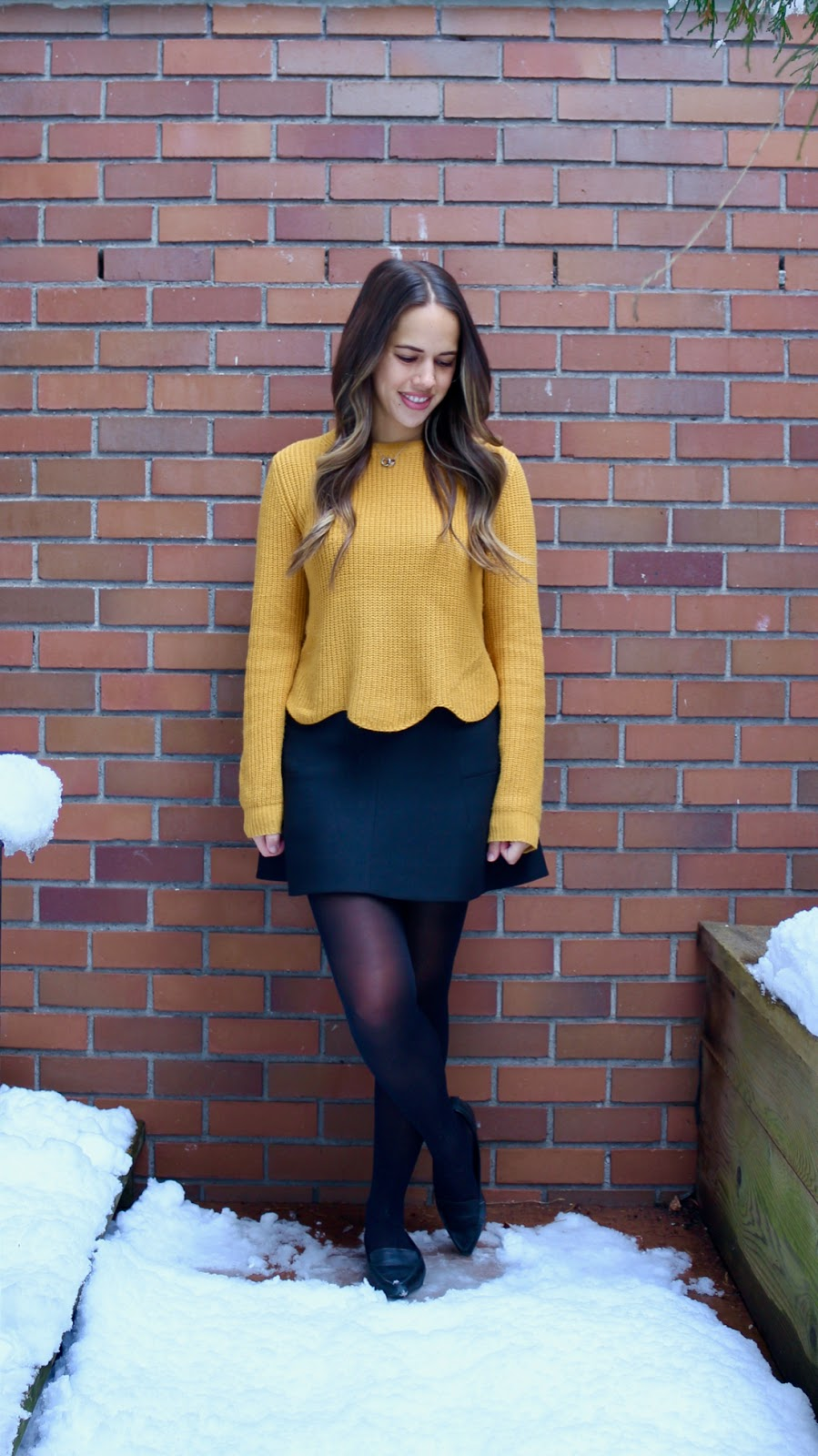 Jules in Flats - Mustard Scalloped Sweater + Mini Skirt (Business Casual Winter Workwear on a Budget)