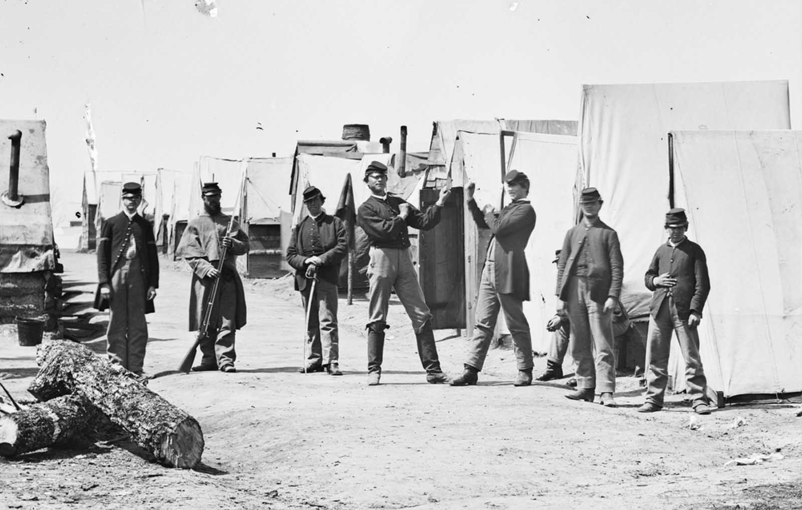 Soldiers boxing in a Union camp in Petersburg, Virginia, in April of 1865.