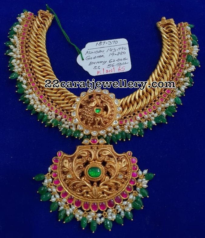 187 Grams Kundan Antique Choker