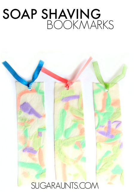 Soap Shaving Bookmarks with peeled soap, part of the book, Pop! Squirt! Splash! book for kids with soap, water, and bubbles