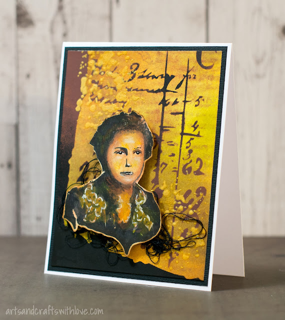 Card with stencilled background