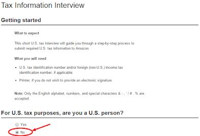 Cara Mengisi Tax Information Amazon dari Indonesia