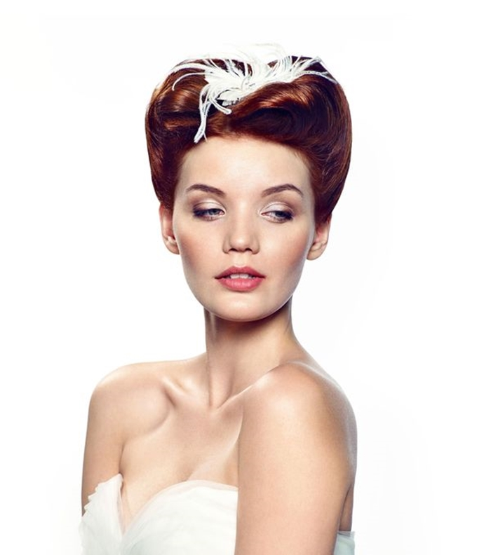 retro bridal hairstyle, ginger, red hair