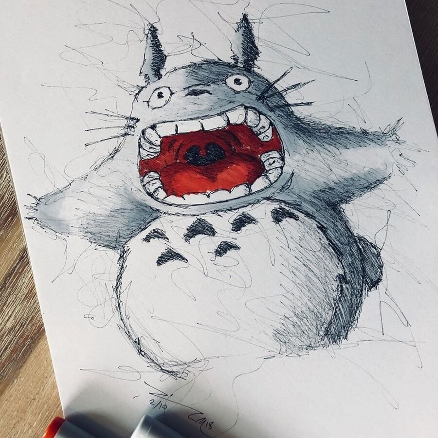 06-My-Neighbor-Totoro-Jimmy-Mätlik-Fantasy-Character-Scribble-Drawings-www-designstack-co
