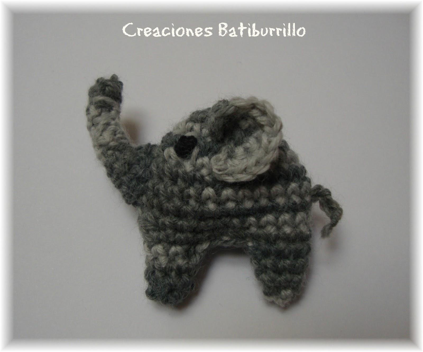 CREACIONES BATIBURRILLO: BROCHE ELEFANTE CROCHET