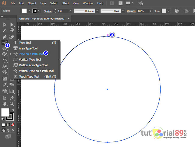 Cara membuat tulisan melengkung atau melingkar di Illustrator (AI) + video