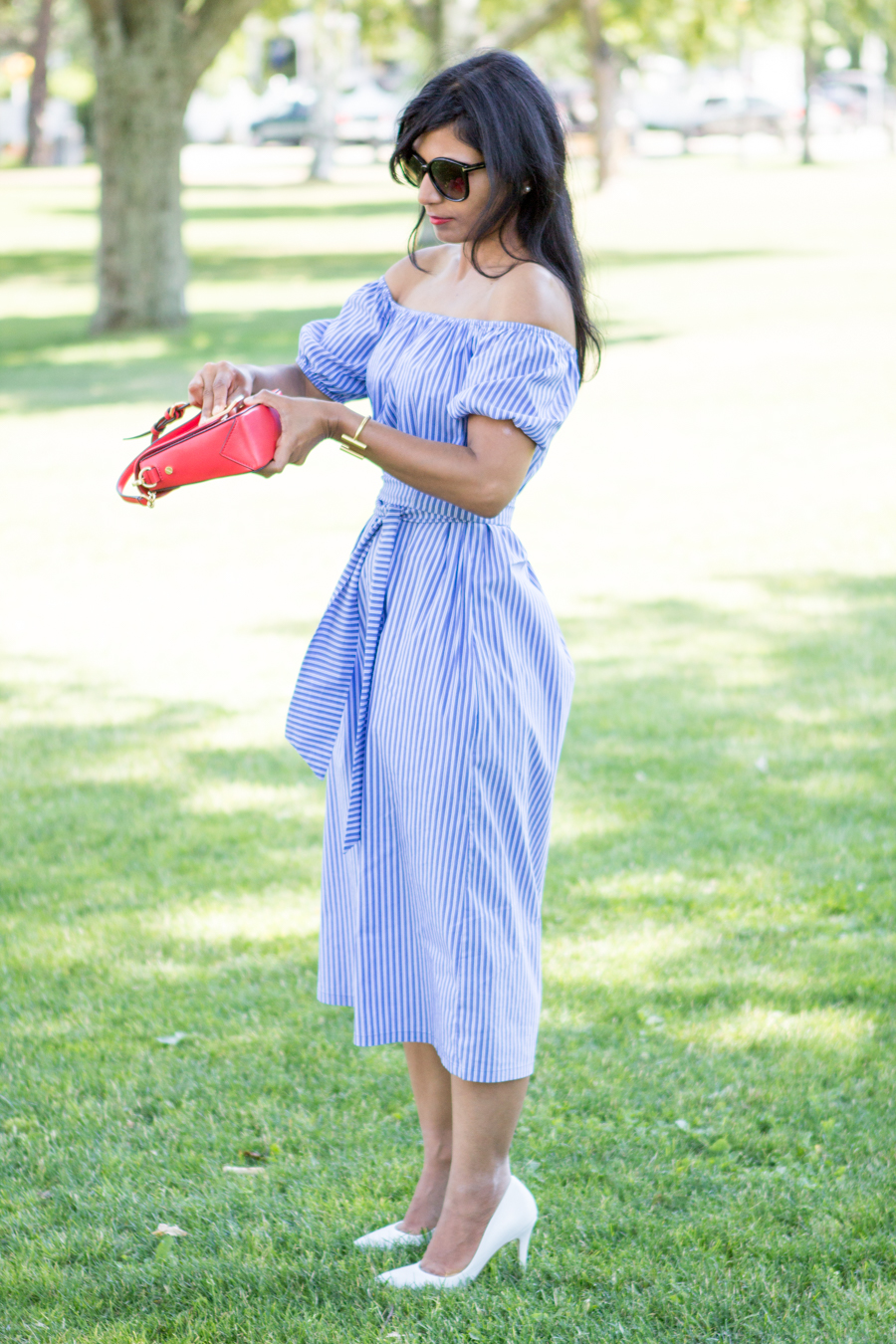 july 4, independence day, 4th of july style, holiday style, white and blue stripes, red, white and blue, white pumps, zara, petite fashion, red lipstick, perfect summer dress, off-the-shoulder, style blog,style over 40