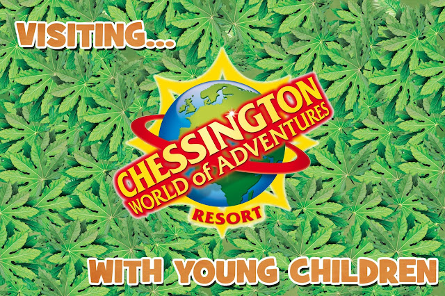 A green leafy background with title text on and the Chessington Logo which is yellow and red with the plant earth behind