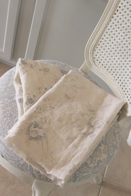 Shabby Chic Couture linen fabrics on vintage chair