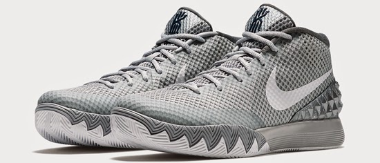 watch 02e33 d6b88 This Nike Kyrie 1 comes in a wolf grey, pure platinum, midnight navy and  white colorway. Featuring a grey based upper with platinum and white  accents, ...