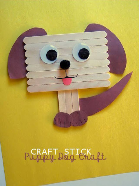 Idea to make dog from popsicle stick for kids