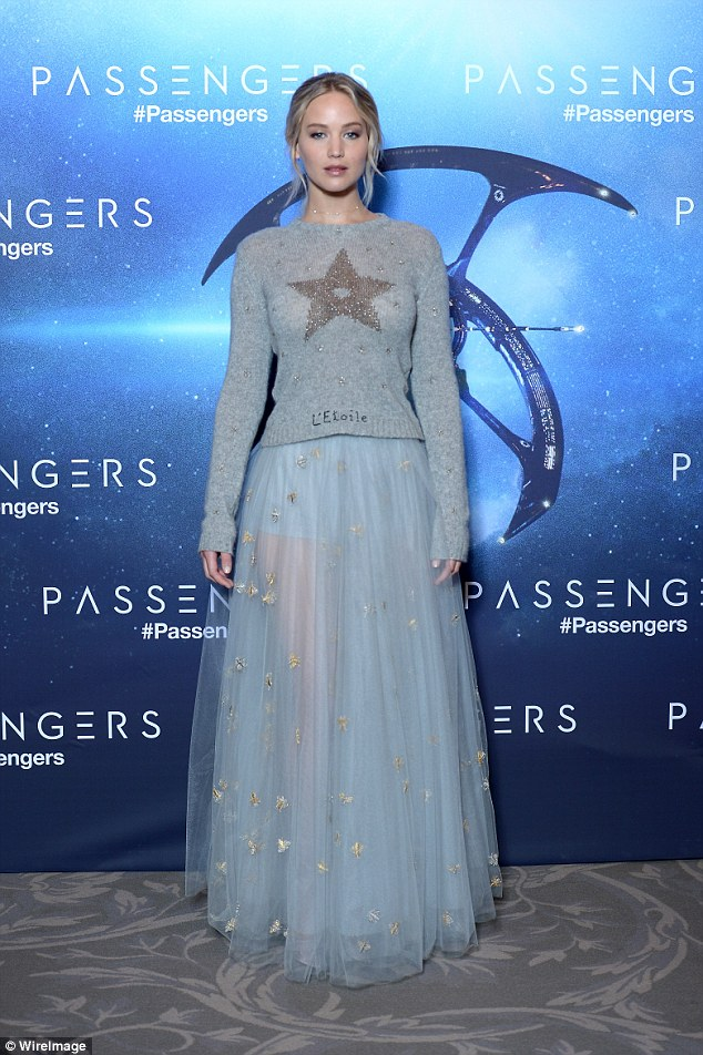 Jennifer Lawrence flaunts legs in sheer skirt at the 'Passengers' Paris photocall