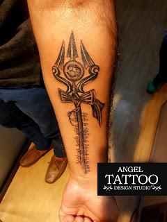 trishul tattoo, trishul tattoo on forearm