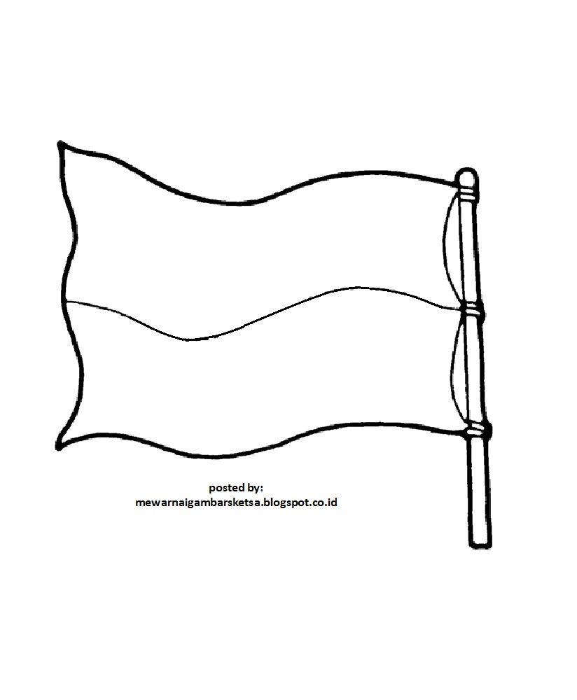 Kumpulan Gambar Sketsa Bendera Indonesia Untuk Diwarnai