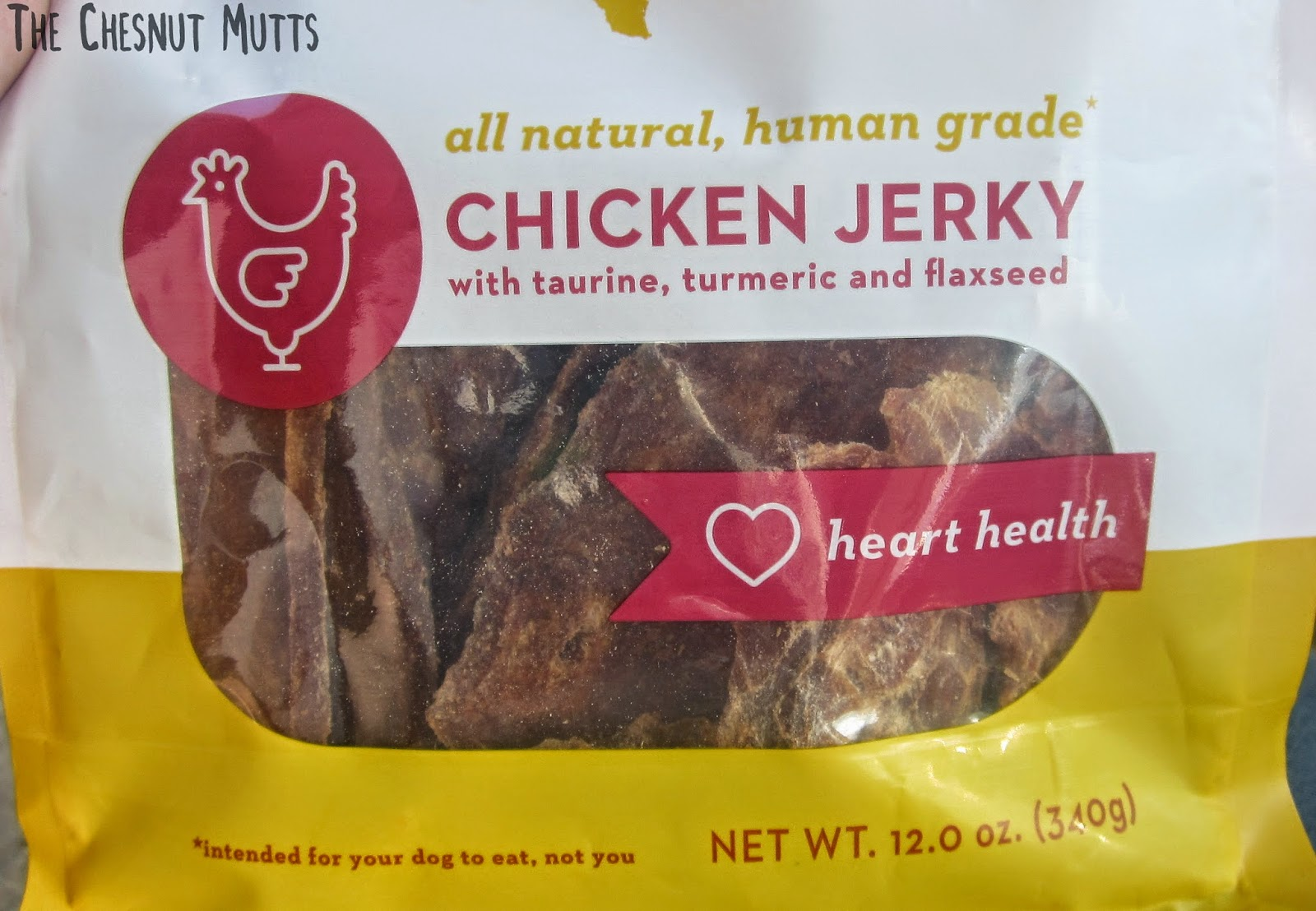 all natural, human grade chicken jerky with taurine, turmeric and flaxseed
