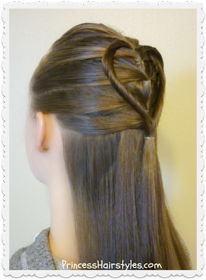 Easy heart hairstyle for Valentines.  Elastic braid twist heart tutorial.