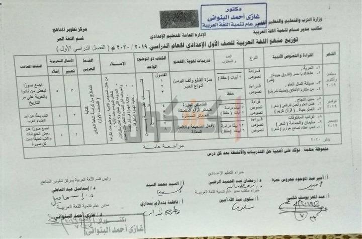 توزيع منهج اللغة العربية الصف الأول الاعدادي 2020 ترم أول