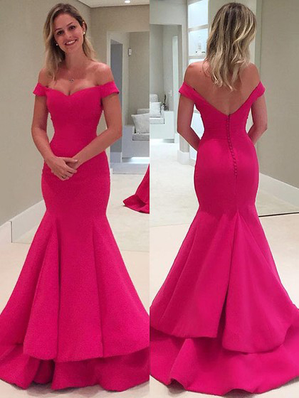 Trumpet/Mermaid Off-the-shoulder Satin Sweep Train Tiered Backless Women's Prom Dresses