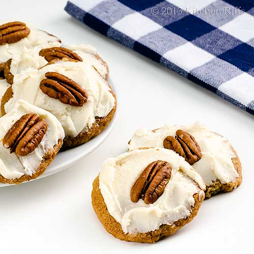 Rum-Frosted Pecan Shortbread Cookies
