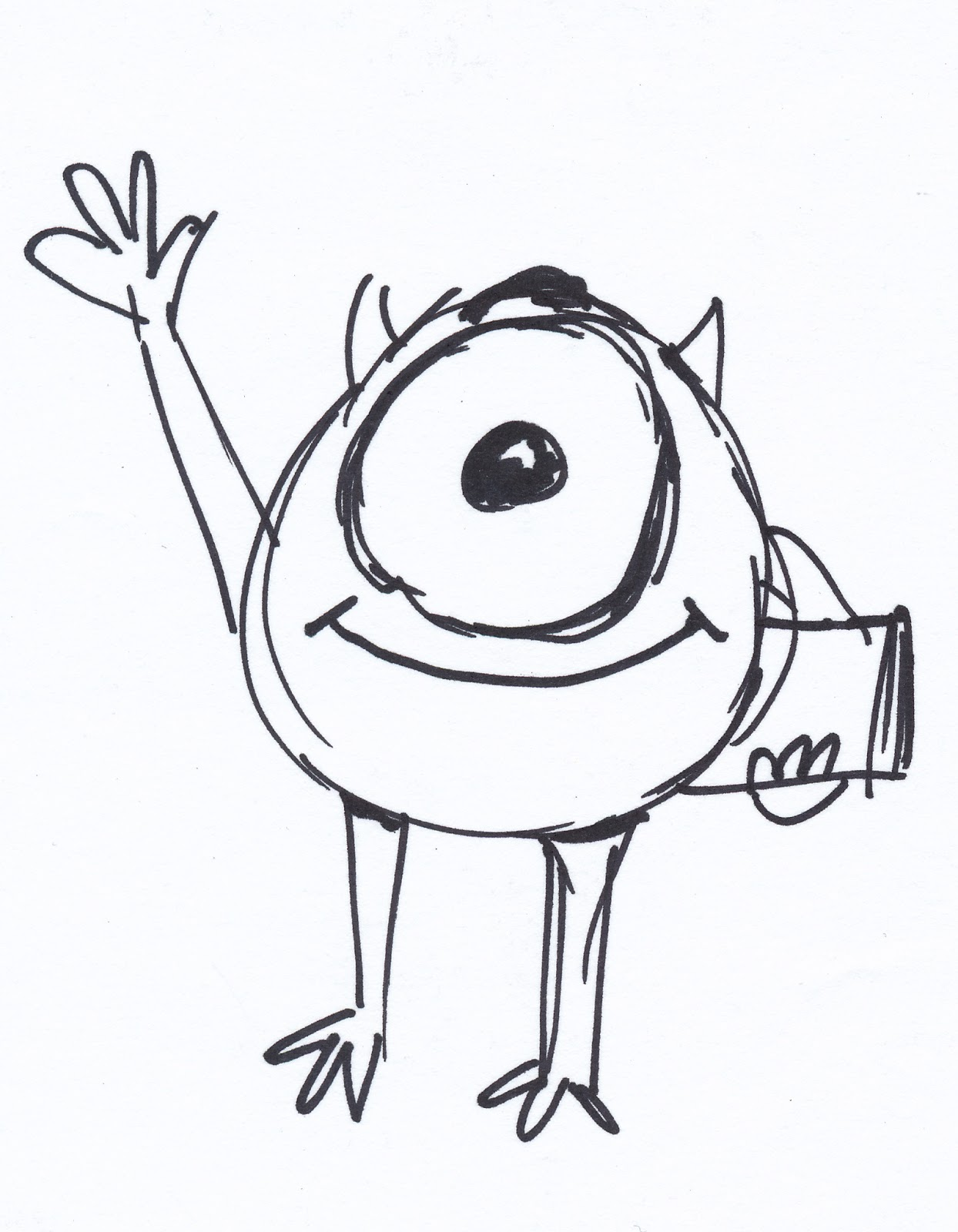 Pixar post april 2013 for Mike wazowski coloring page
