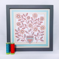 Flowers, stems and vase antique style colours embroidery on card for picture making.