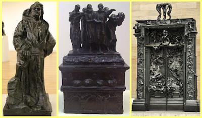 Izquierda: Monumento a Balzac; Centro: Los burgueses de Calais;