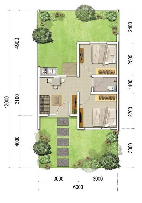 Denah Rumah minimalis Ukuran 6x12 meter 2 kamar tidur 1 lantai
