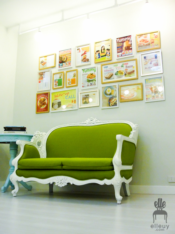 Colorful wall frames, frame gallery display, wall gallery, green french settee