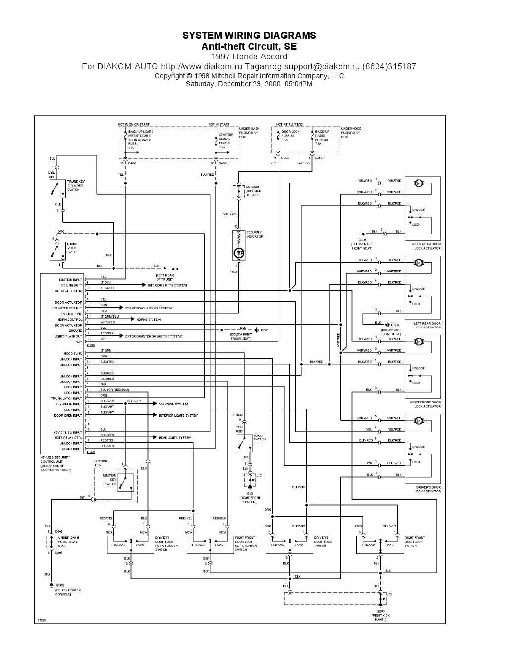 1997 Honda Accord Antitheft Circuit SE, System Wiring