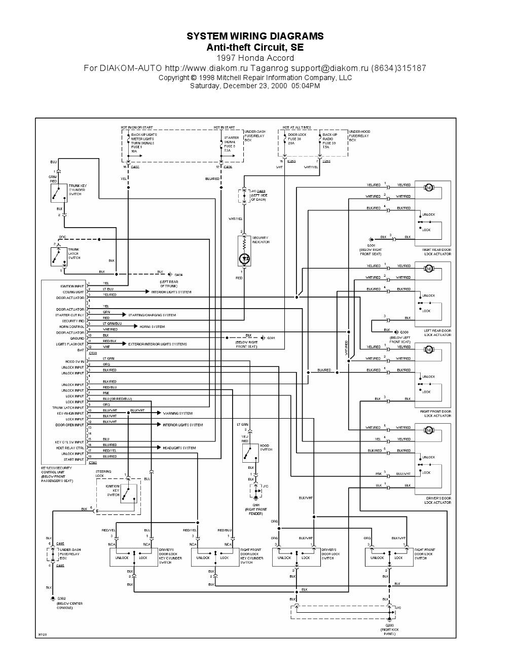 1997 Honda Accord Antitheft Circuit SE, System Wiring