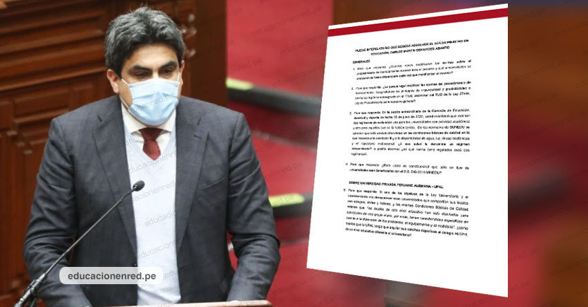 Conoce las 33 preguntas que responderá mañana en el Congreso de la República, Martín Benavides, Ministro de Educación - MINEDU