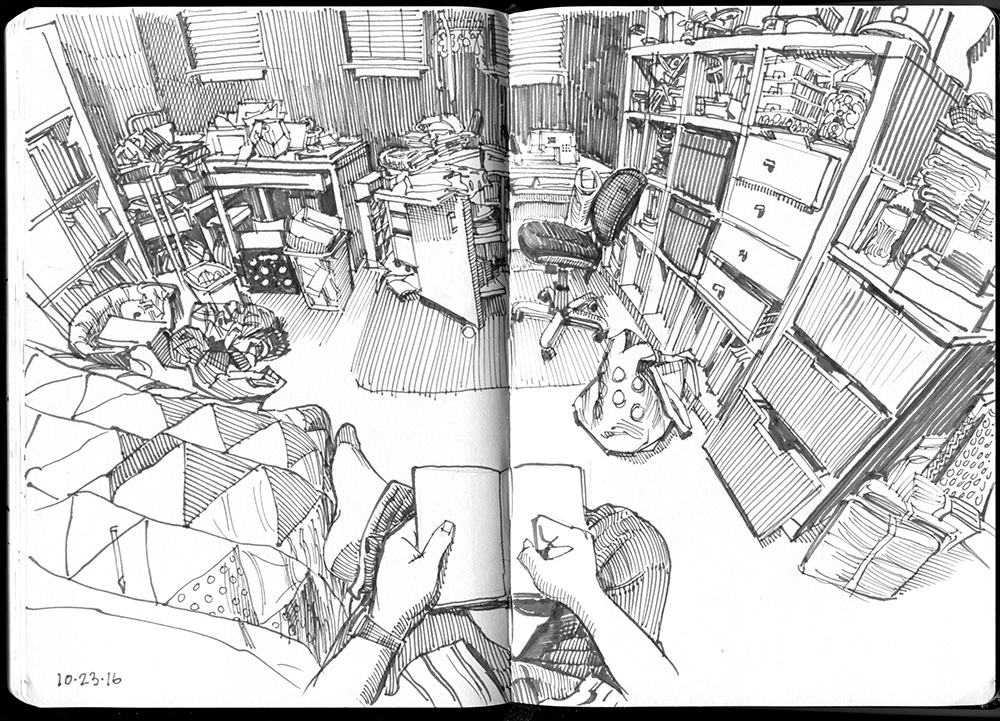 01-Linda-Sewing-Space-Paul-Heaston-Urban-Sketcher-in-Moleskine-Drawings-www-designstack-co