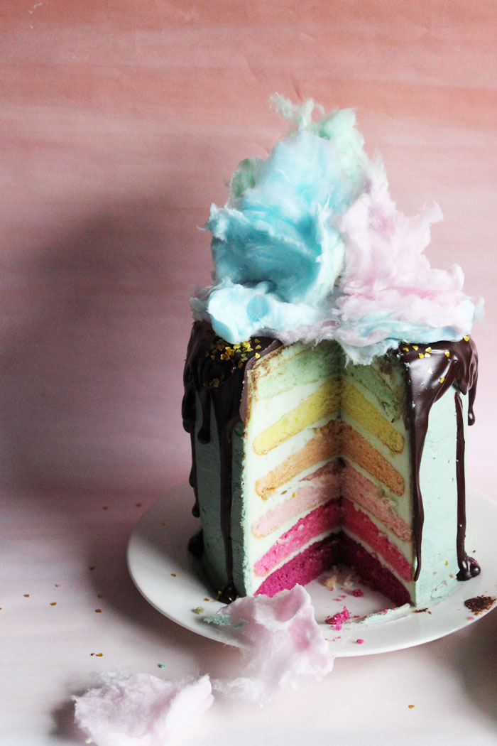 One Cake Two Ways Donut Cotton Candy Cake Poppytalk