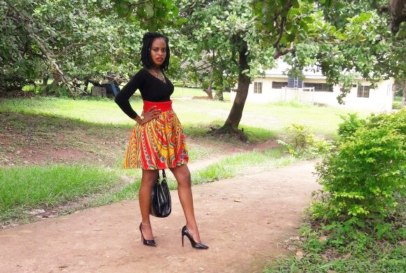 Ankara skirt with black top