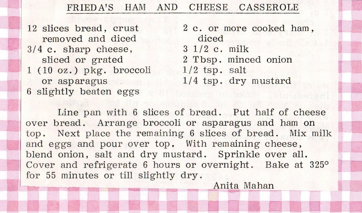 "Frieda""s Ham and Cheese Casserole (recipe)"