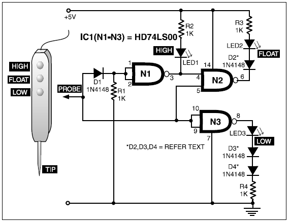 TTL THREE-STATE LOGIC PROBE CIRCUIT DIAGRAM PROJECT