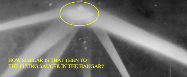The similarities are uncanny that the US has a public battle with a UFO over LA and then we see this Flying Saucer in a hangar looking very similar.